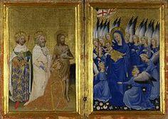 Diptyque de Wilton. - C'est un petit retable portatif (tempera sur panneaux de chêne, chaque panneau 53+37 cm), constitué de 2 panneaux articulés peints sur les 2 côtés,, réalisé vers 1395-1399 par un maître anonyme (Maître du diptyque de Wilton), probablement anglais ou français (National Gallery, Londres). Représentatif du style gothique international, il est l'une des rares peintures religieuses anglaises du Moyen Age tardif qui soient parvenues jusqu'à nous.