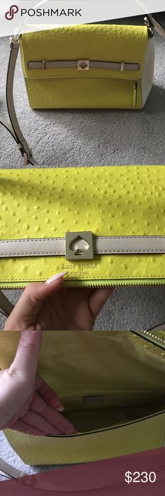 Kate spade bright yellow bag Authentic Kate spade bag ! Beautiful!!!!!!  Color pops!!!! Can wear around should or hand ! Excellent condition never worn! kate spade Bags Shoulder Bags