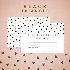 Printable Gift Certificate Design  Black Triangle by asamihasegawa