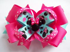 Hot Pink And Blue Mouse Head Miss Minnie by JustinesBoutiqueBows, $8.00