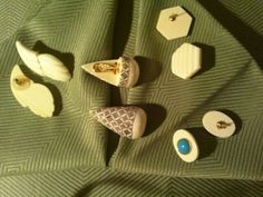 4 PAIRS OF EARRINGS bone, ivory, shell, plastic, turquoise, etched, scrimshaw