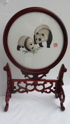 """14"""" Chinese Suzhou Double-sided Silk Hand Embroidery Panda Frame"""