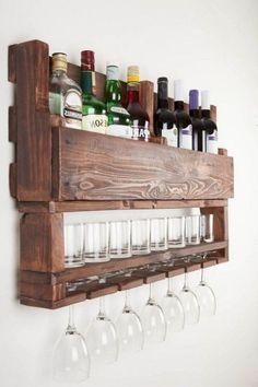 Diy Bar, Diy Home Bar, Bars For Home, Diy Home Decor, Pallet Home Decor, Homemade Home Decor, Wine Rack Design, Home Bar Designs, Wine Rack Wall