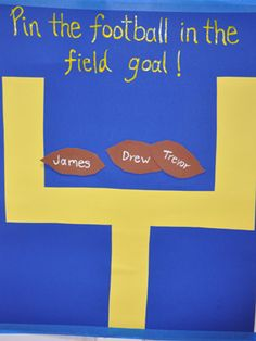 DIY football party game: Pin the football in the field goal.