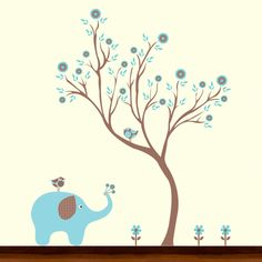 Elephant wall mural - different colors than this one