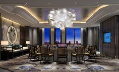 DB Kim Restaurant Lounge, Restaurant Design, Modern Interior Design, Interior And Exterior, Hotel Ceiling, Linear Lighting, Chinese Design, Lobby Design, Indochine