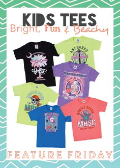 Your little ones can show off their southern side in style! Grab your favorite little beach goers a fun new T-Shirt to rock this year! New designs and bold colors for boys & girls!