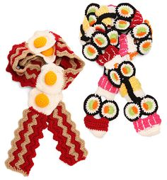 Nom Nom Bacon and Sushi Scarves @georgia lin. Ray Christmas present for next year? :D