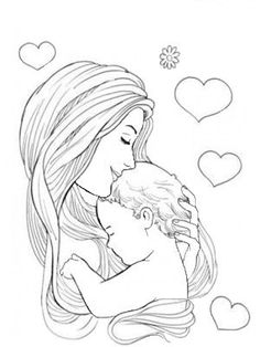 Mother And Baby Paintings, Mother And Child Drawing, Mom Drawing, Mother Art, Dark Art Drawings, Art Drawings Sketches Simple, Pencil Art Drawings, Mother And Baby Tattoo, Father Daughter Tattoos