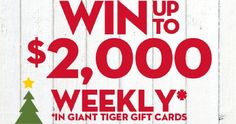 Win Up to $2,000 in Giant Tiger Gift Cards