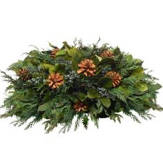 Floral Treasure Pinecones And Rocky Table Top Arrangement by Floral Treasure. $98.99. Gorgeous mix of holiday colors. Made of preserved salal, cedar, rocky juniper, and pinecones. Best for decorative indoor use. Includes twig basket for easy decorating. Measures 27 x 15 x 11 inches. The Floral Treasure Pinecones And Rocky Table Top Arrangement is generously filled with cedar, rocky juniper, preserved salal, and pinecones to instantly add the scen...