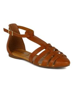 Breckelle BK71 Women Leatherette Caged Gladiator Ankle Strap Flat Sandal  Tan Size 75 * You can get additional details at the image link.