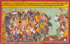 An Illustration to the Mahabharata: The Pandava and Kaurava armies face each other