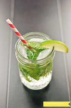 Classic Mojito-2 by acupofmai, Ingredients: 8 fresh mint leaves 1 1/2 Tbs. simple syrup ( see related recipe at bottom)  1 Tbs. fresh lime juice Crush ice as needed  2 oz light rum  2 oz club soda  1 lime wedge