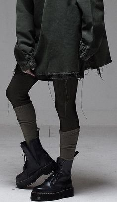 RAF SIMON I like knitting socks over tights - . RAF SIMON I like knitting socks over tights - ., Always aspired to learn how to knit. Alternative Outfits, Alternative Mode, Alternative Fashion, Grunge Outfits, Edgy Outfits, Fashion Outfits, Fashion 2018, Fashion Tips, Mode Lookbook