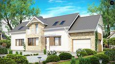 Z157 Funkcjonalny dom z poddaszem, wykuszem od frontu i garażem, także na wąską działkę.