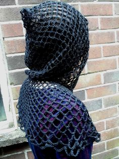 Black lacy crochet hood, goth, faerie, hippie, boho. $38.00, via Etsy.