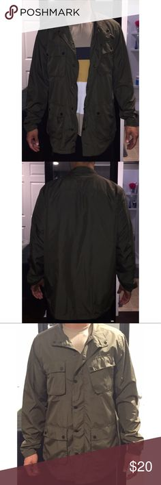 """Men's large olive colored cargo jacket Olive colored men's cargo jacket. Size large. Made by Five Four in Los Angeles. Never worn. Tags still on. Model is 5'10"""" and 175lbs. Five Four Jackets & Coats Bomber & Varsity"""