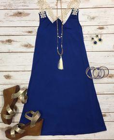 Lace It Up Tunic Dress: Royal Blue