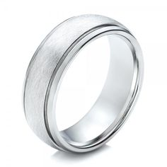 Men's Wire Brushed Finish White Tungsten Band