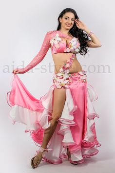 ae8776854738 Professional belly dance costumes with flowers Aida Style Belly Dance  Costumes Flower Costume, Make Design