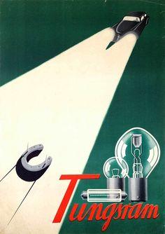 tungsram car lightsartist tihamér via Book Posters, Poster Ads, Advertising Poster, Vintage Advertisements, Vintage Ads, Vintage Posters, Lights Artist, Illustrations And Posters, Vintage Illustrations