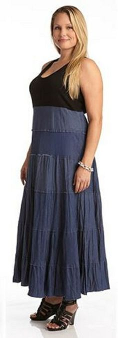 PLUS SIZE TIERED MAXI DRESS This Karen Kane maxi dress will easily become a weekend favorite. It combines classic materials of stretchy jersey and cool cotton denim for all day comfort will maximum style. #Plus_Size #Maxi_Dresses #Karen_Kane