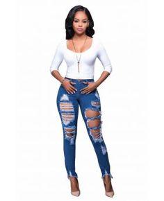 Blue Hollow Classic Plus Jeans