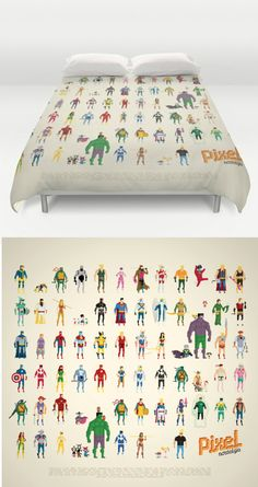 8-Bit Superhero Bedding For Adults  Go to sleep safe and secure under your favorite superheroes in all their pixelated glory. This microfiber duvet cover is hand sewn and provides a white reversible side as well as a hidden zipper for easy assembly.  Read more at http://nerdapproved.com/household/8-bit-superhero-bedding-for-adults/#Lm3UCbhqfwYsc8gR.99