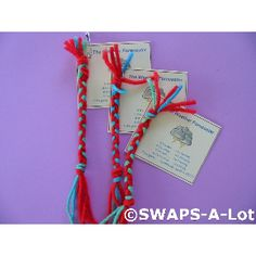 Girl Scout Swaps aka special whatchamacallits affectionately pinned somewhere - weather forecaster! Easy enough if they can braid.  Can pick any set of colors to match scouts you are in! Can make a set of these every other year for the changing of the scouts as they bridge up the line.