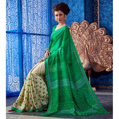Designer Green & Beige Printed With Border Baghalpuri Silk Saree-RKNK9509A(FH-RKNK9501)