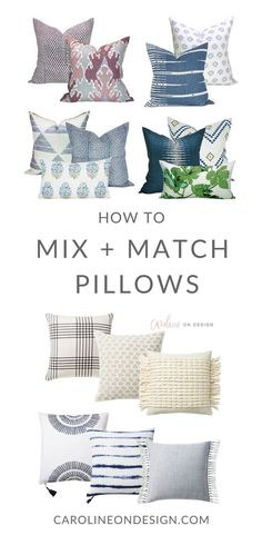 I offer a simple equation for you to mix and match throw pillows, as well as a list of awesome throw pillow sources! It's all about trial and error, and what combinations feel 'right' to YOU! Throw Pillows, Decorative Pillows Couch, Colorful Bedroom Design, Transitional Bedroom Design, Couch Throw Pillows, Couch Pillows, Bed Pillows, Pillows, Mixing Patterns Living Room