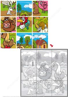 Jigsaw Puzzle with Cute Farm Animals Preschool Cutting Practice, Color Worksheets For Preschool, Preschool Puzzles, Fall Preschool Activities, English Worksheets For Kids, Kindergarten Math Worksheets, Toddler Learning Activities, Animal Activities, Montessori Activities