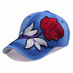 2f7710717a4 Women Denim Blue Rose Embroidered Baseball Cap Casual Sunshade Hats  Adjustable Embroidered Baseball Caps