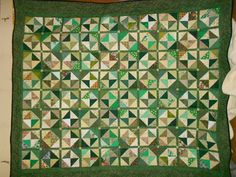 Queen Size quilt Full size quilt Green 37 by pamscrafts7631