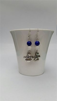 Football Earrings Football Jewellery Colours Blue and White like The Kangaroos