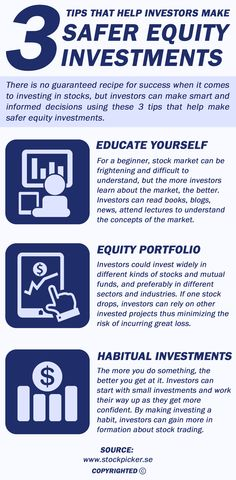 By making smart and informed decisions investors can make safer equity investments and thus reduce the possibility of losing funds. Here are a few tips that investors could consider .