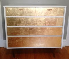 Mid Century 5 - Drawer Dresser - High Gloss White and Gold Leaf Drawers - Changing Table - Console via Etsy