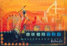 Kerstin Kloidt- Africa - Abensonne I 2000, Mischtechnik, 50x70 cm