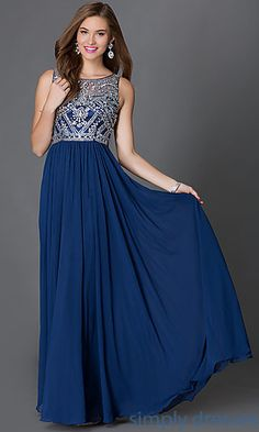 Shop long sleeveless jeweled bodice chiffon prom dresses and gowns at Simply Dresses. Long formal illusion evening gowns with beading.