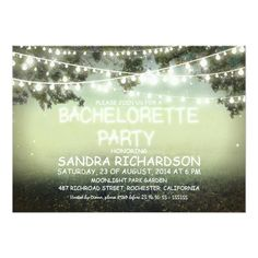bachelorette party country wedding invitations sparkling string lights BACHELORETTE PARTY INVITES