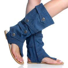 denim bootie shoes | Blue Denim Jean Open Toe Mid Calf Boot Flat Dress Sandal Womens Shoes ...