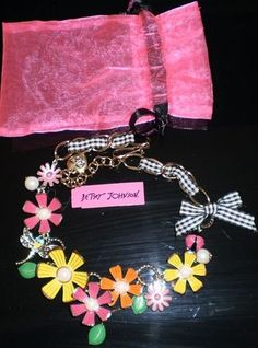 BETSEY JOHNSON FLOWER NECKLACE WITH GINGHAM, LADYBUG, DRAGONFLY, PEARLS EUC $135 #BetseyJohnson