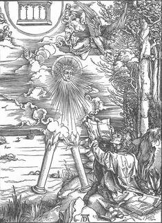 Woodcut series: The Revelation of St John (Apocalypse) (1497-98)  by Albrecht DÜRER. 9: St. John Devours The Book.