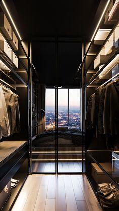 Dark bedrom in Moscow on Behance Walk In Closet Design, Bedroom Closet Design, Master Bedroom Closet, Modern Home Interior Design, Home Room Design, Interior Architecture, House Design, Dressing Room Design, Modern Closet