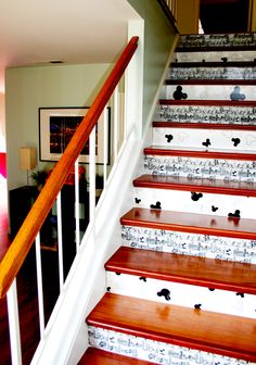 Mickey Mouse wallpaper stairs @ The Mouse TownHouse (our Disney vacation rental, VRBO