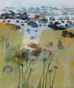 Simon Pooley, Boulders at St. Loy, mixed media on board, 30 x 25cm, £495.