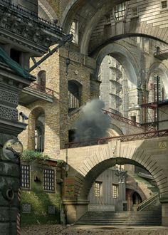"#2.- Emily Allchurch - Photographic homage to Giovanni Piranesi's etchings titled ""Imaginary Prisons, the Smoking Fire""."
