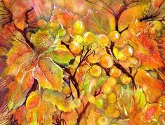 Autumn Grapes Symphony Art Print by Sabina Von Arx Canvas Art, Canvas Prints, Art Prints, Vegetable Painting, Nature Posters, Thing 1, Autumn Scenery, Creative Colour, Leaf Art