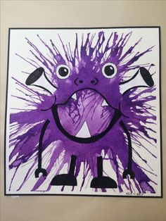 Watercolor splatter with black and white acrylic mini monster 2017